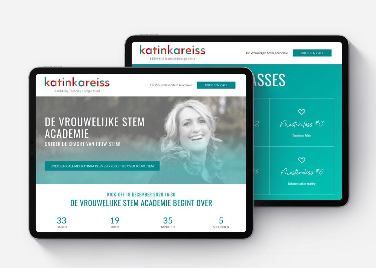 Webdesign voor De Stem Academie van Katinka Reiss